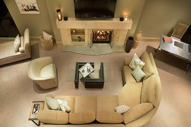 Mission Bay Condo, San Diego, living room from above - large image