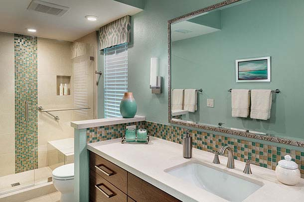 bathroom sink, large walk in shower. Large mirror - large image