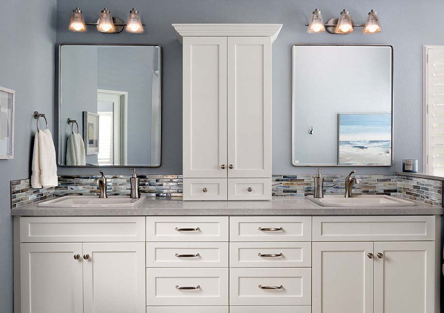 White bathroom cabinets, two mirrors and two sinks - x-large photo
