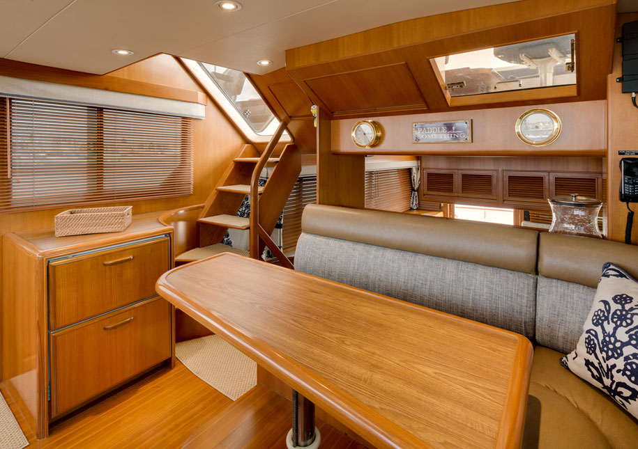 Yacht living area showing stairs to deck - x-large photo